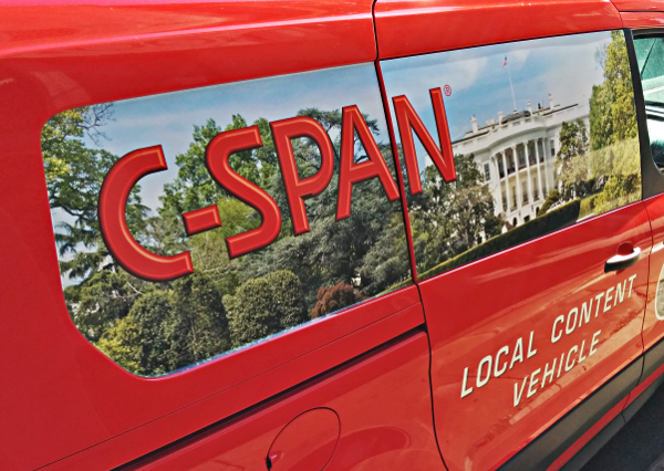 The C-SPAN Local Content Vehicle visiting Galveston Bookshop.
