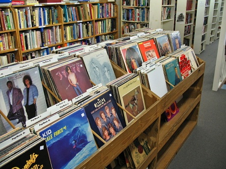 Vinyl LPs at Galveston Bookshop.